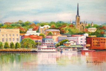 Wilmington Riverfront II Original Watercolor